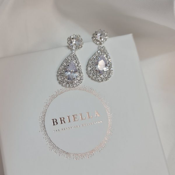 bridal silver earrings briella collection